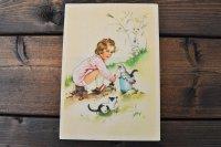 ドイツ・ヴィンテージポストカード/未使用/猫と少女