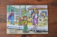 チェコ・古いポストカード/ランドセルの兄弟