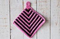 ◆30%off◆ドイツ・手編みの鍋つかみ/ピンク×こげ茶