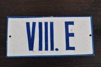 チェコ・古いTINナンバープレート/VIII.E(手書き)