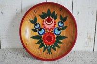 ドイツ・ヴィンテージ ハンドペイント木製絵皿/丸い花