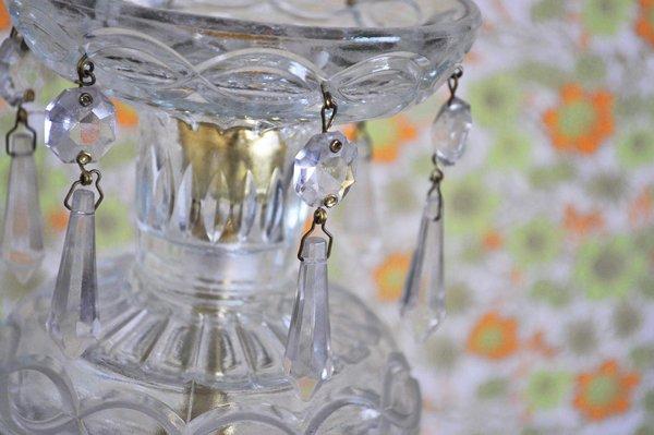 画像2: チェコ・アンティーク ガラスのテーブルシャンデリア キャンドルスタンド