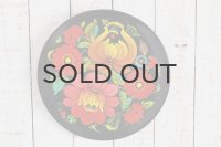 ◆50%off◆ロシア・ハンドペイント木製絵皿/黒塗り鮮やか花模様