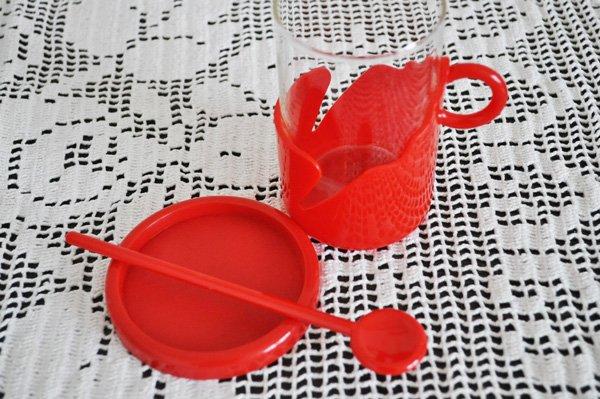 画像3: ◆50%of◆オランダ・ヴィンテージ プラスチックホルダー付きグラス/レッド