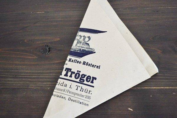 画像1: ドイツ・DDR時代(旧東ドイツ)の三角紙袋/EduardTröger/珈琲豆3枚セット