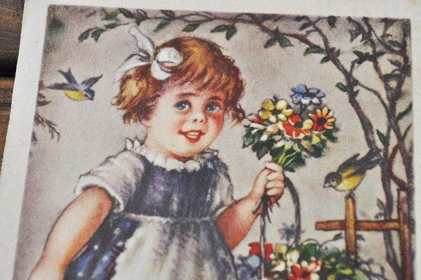 画像2: ドイツ・ヴィンテージポストカード/花を持った少女