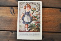 ドイツ・ヴィンテージポストカード/花を持った少女