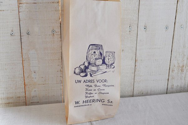 画像3: オランダ・ヴィンテージ紙袋/W.HEERING/白×青/チーズ