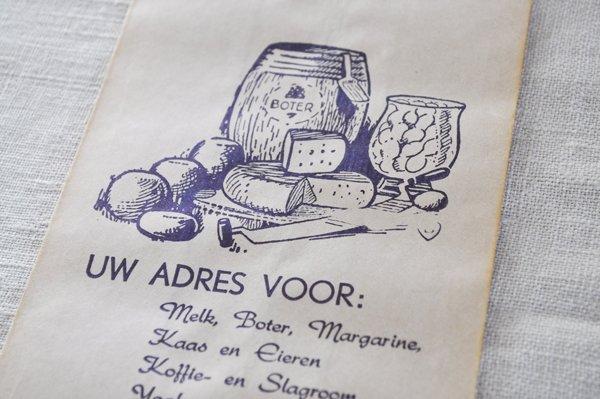 画像2: オランダ・ヴィンテージ紙袋/W.HEERING/白×青/チーズ