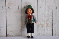 ドイツ・ヴィンテージ チロル人形/クローズアイ/羽根帽子