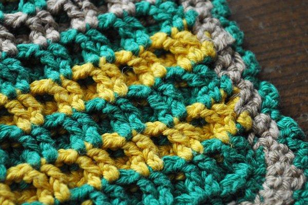 画像4: ドイツ・ヴィンテージ  手編みの鍋つかみorポットマット/グリーン×イエロースクエア
