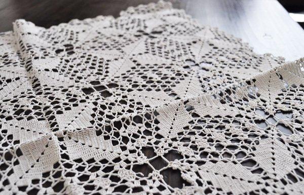 画像3: ドイツ・ヴィンテージ手編みモチーフつなぎレースのテーブルクロス/生成