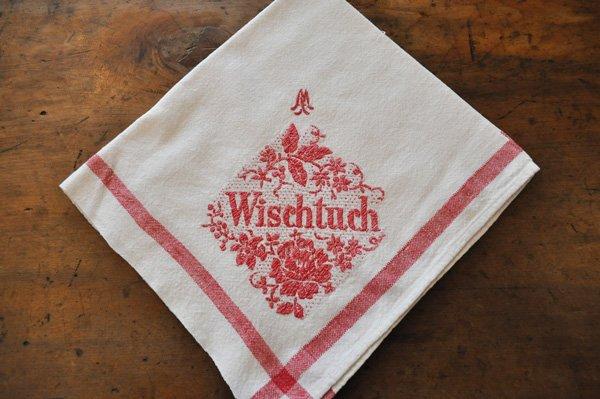 画像1: ドイツ・ヴィンテージ 赤い刺繍のキッチンクロス/Wischtuch