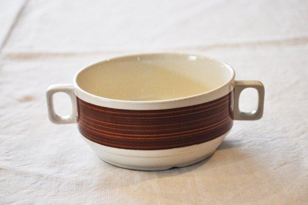 画像1: ベルギー BOCH(ボッホ)持ち手付スープカップ/ブラウンライン
