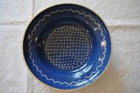 ドイツ・ブルー陶器のスーププレート/水玉