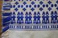 画像2: ドイツ・ヴィンテージ 織り柄ミニマット/白×ブルー (2)