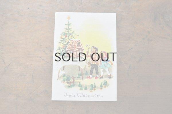 画像1: ドイツ・ヴィンテージ ポストカード/クリスマス/お菓子の家と子供