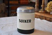 オランダ・アンティーク ホーローキャニスター/SUIKER(砂糖)/オフ白×グリーン