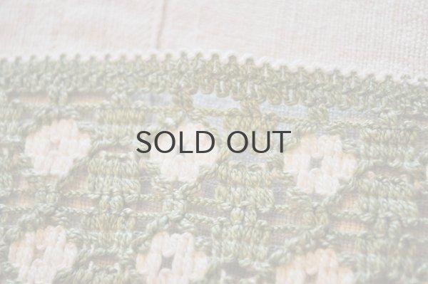 画像4: ドイツ・ヴィンテージ 刺繍トリムリボン/幅広/ライトグリーン×白/花