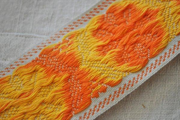 画像4: ベルギー・ヴィンテージ 刺繍トリムリボン/幅広/オレンジ花