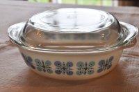 ドイツ・SCHOTT JENA GLAS/ミルクガラスのキャセロール/青花