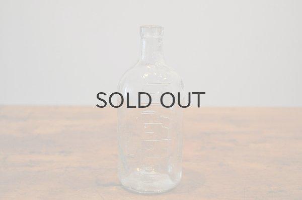 画像1: JAPAN・アンティーク ガラスボトル/目盛り付き薬瓶/クリア