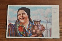 ◆値下げ◆チェコ・アンティークポストカード/微笑む女性(未使用)